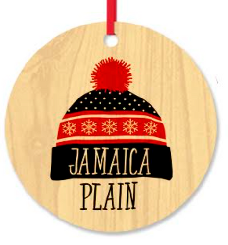 Jamaica Plain Ski Cap Wood Ornament