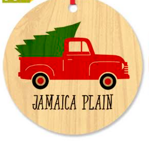 Jamaica Plain Truck Wood Ornament