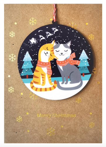 Christmas Cats Bauble Card