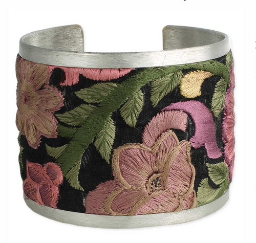 Pink/Black Floral Fabric Silver Cuff