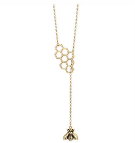 Honey Comb and Bee Lariat Necklace