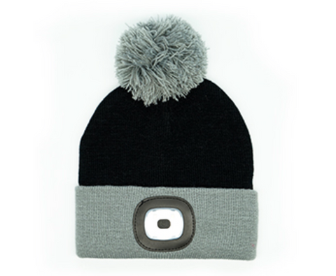 Kids Flash Light Beanies Black and Grey