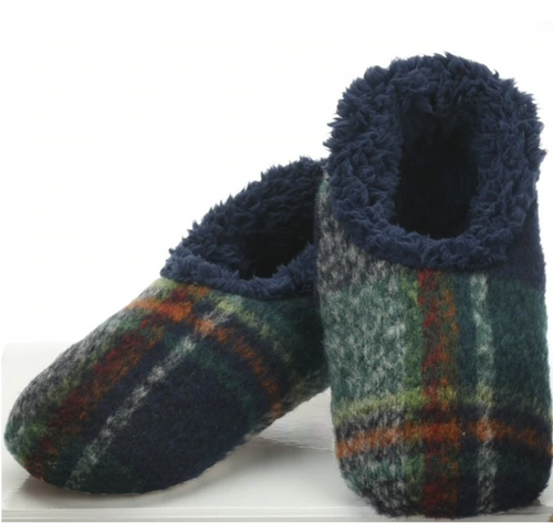 Navy Plaid Men's Slippers