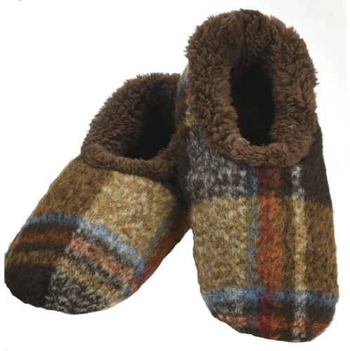 Brown Plaid Men's Slippers