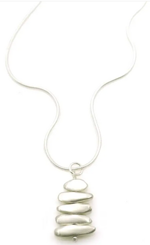 Balance Stacked Pebbles Silver Necklace
