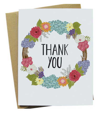 Thank You Floral Wreath Card