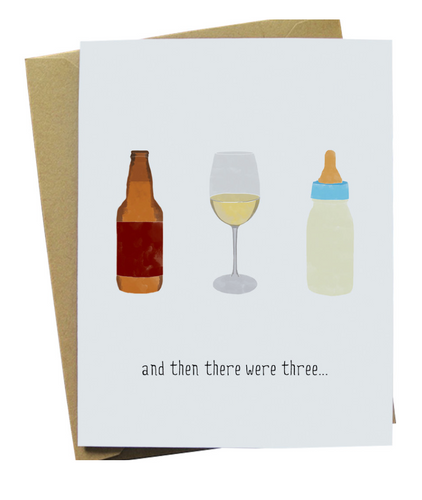 And Then There Were Three Bottles Card