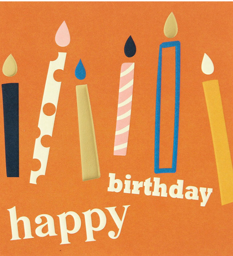 Happy Birthday Candles On Orange Card