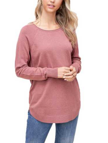 Blush Knit Top with Wrist Buttons