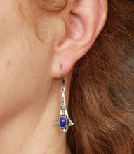 Load image into Gallery viewer, Blue Ornate Vintage Teardrop Earrings