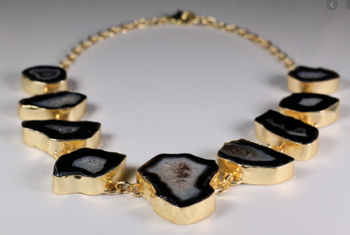 Black Agate Gold Statement Necklace