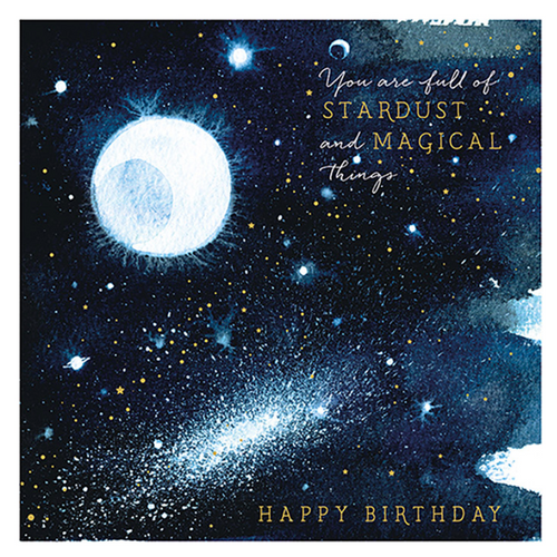 Watercolor Stardust Birthday Card