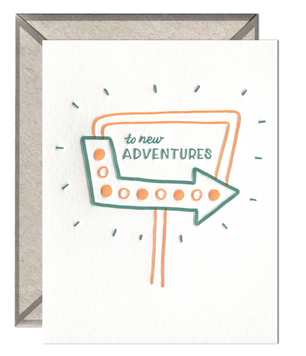 To New Adventures Letterpress Card
