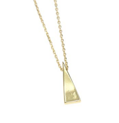 Long Triangle Necklace Gold