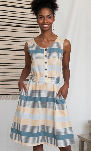 Cora Reversible Sky Stripe Dress