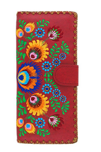 Red Polish Flora Long Embroidered Wallet