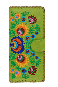 Green Polish Flora Long Embroidered Wallet