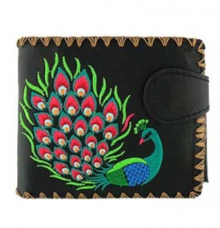 Black Peacock Embroidered Short Wallet