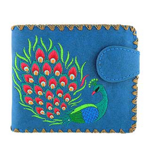 Blue Peacock Embroidered Short Wallet