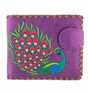 Purple Peacock Embroidered Short Wallet