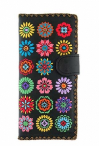 Black Spring Flowers Embroidered Long Wallet