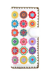 White Spring Flowers Embroidered Long Wallet