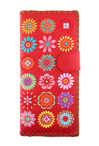 Red Spring Flowers Embroidered Long Wallet
