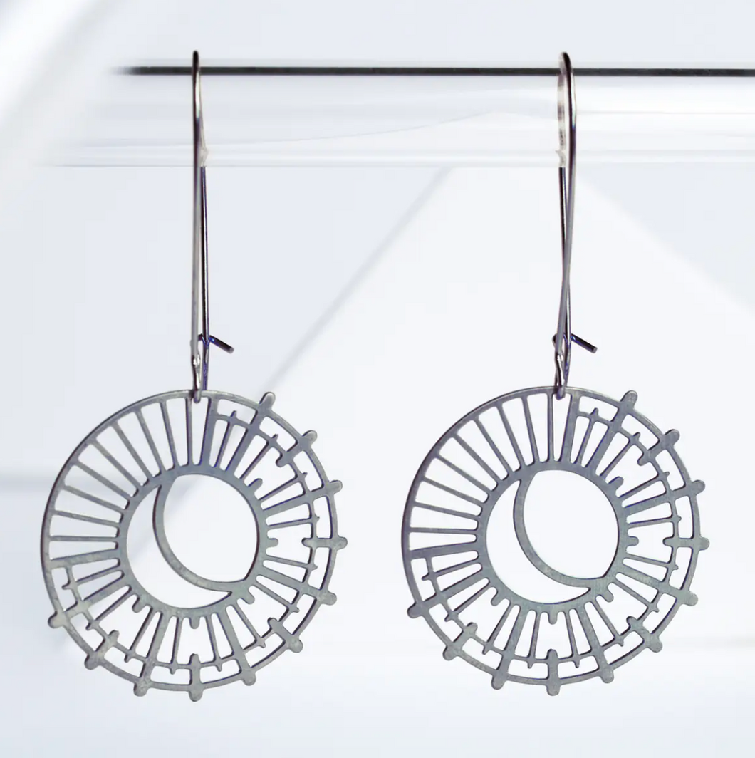 Sun and Moon Earrings - Silver