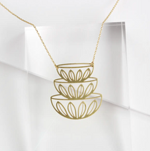 Load image into Gallery viewer, Retro Bowls Stacked Necklace - Brass