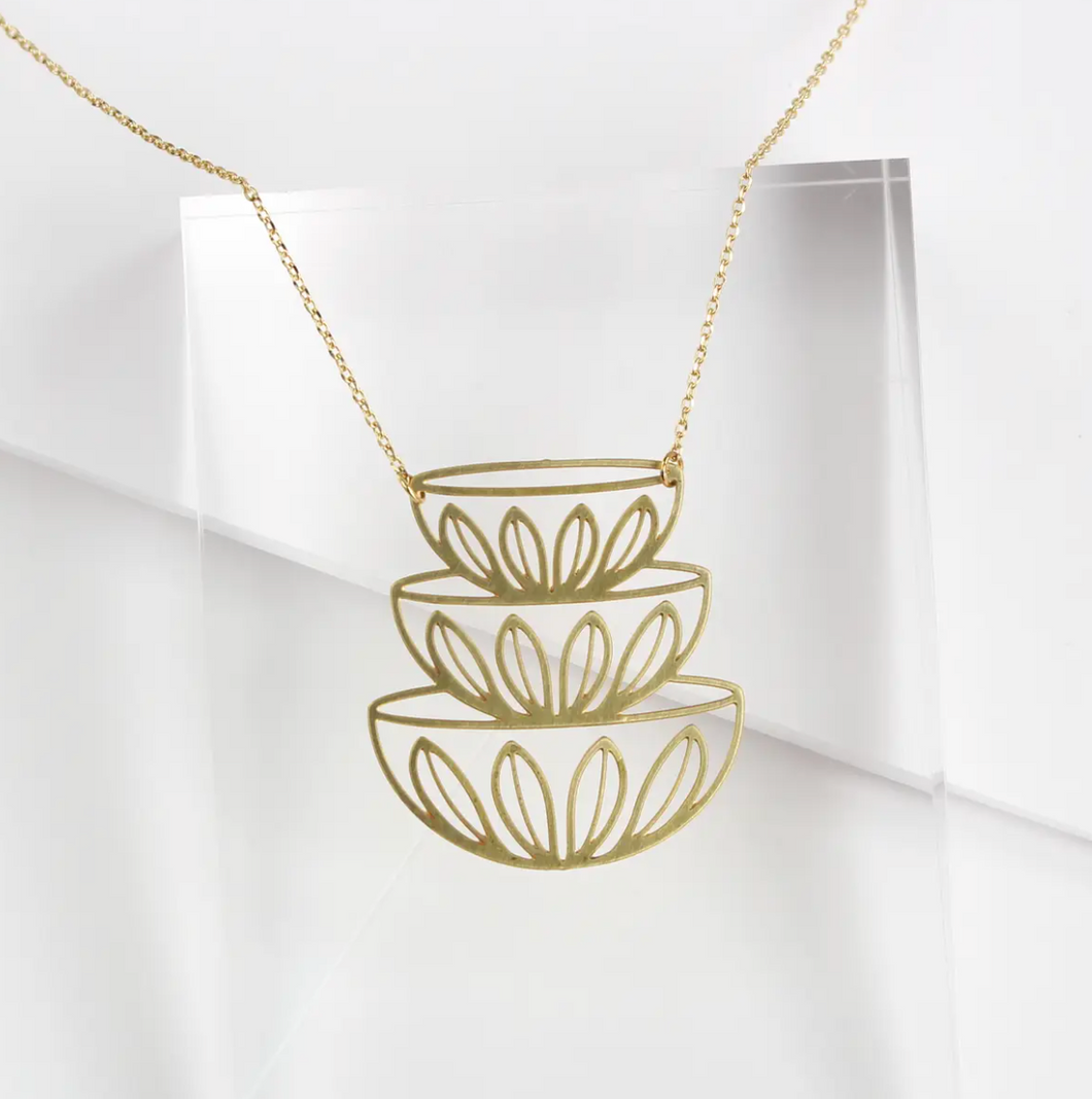 Retro Bowls Stacked Necklace - Brass