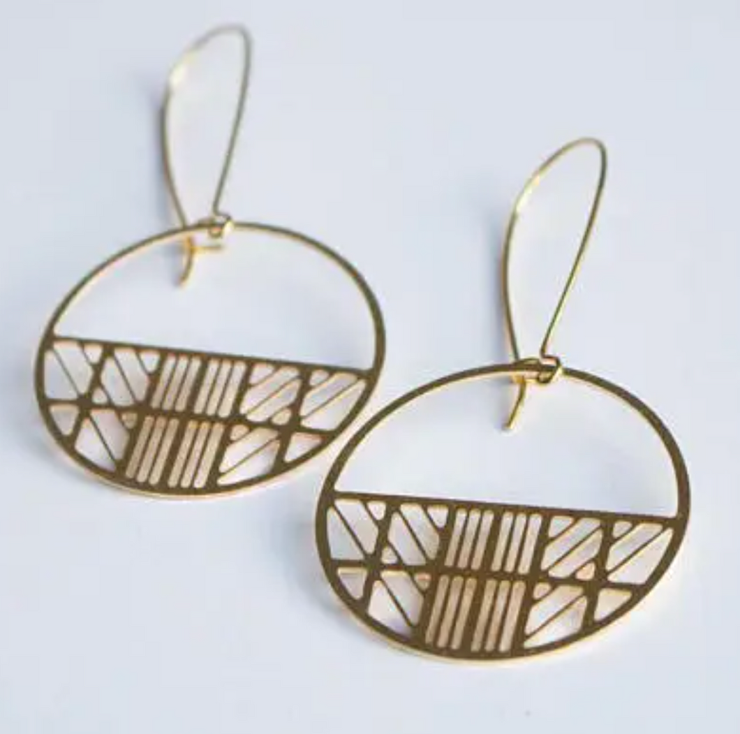Art Deco Circle Earrings - Brass