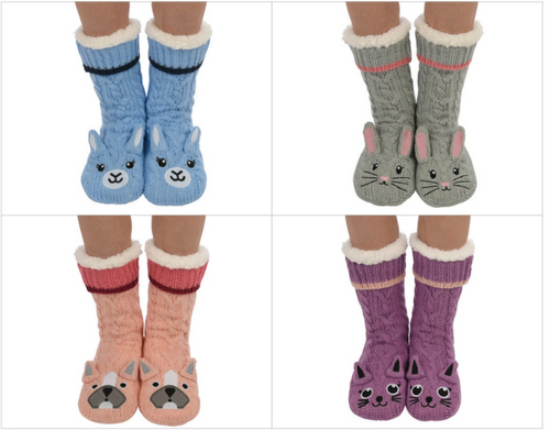 Animal Knit Slipper Socks