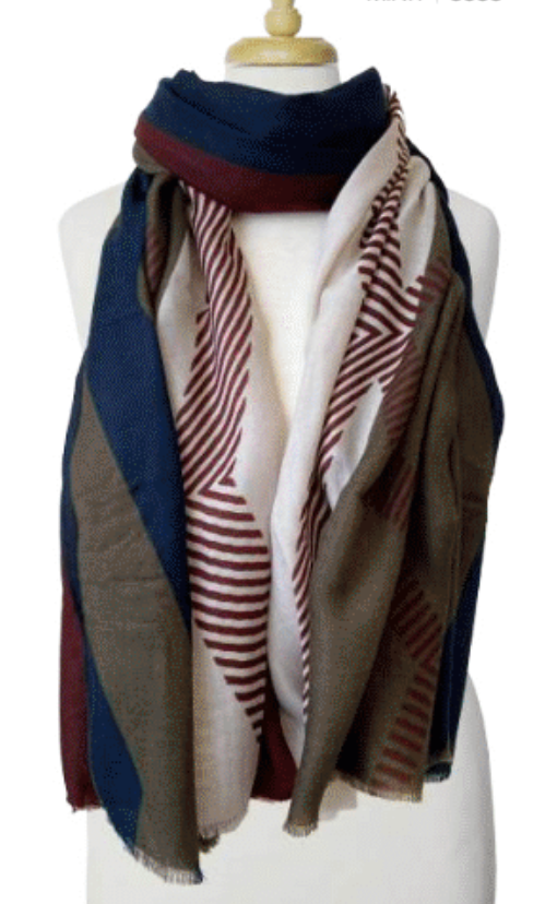 Lightweight Colorblock Scarf Navy and Gr