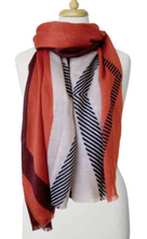 Load image into Gallery viewer, Lightweight Colorblock Scarf Coral and B