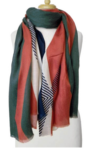 Lightweight Colorblock Scarf Green and C