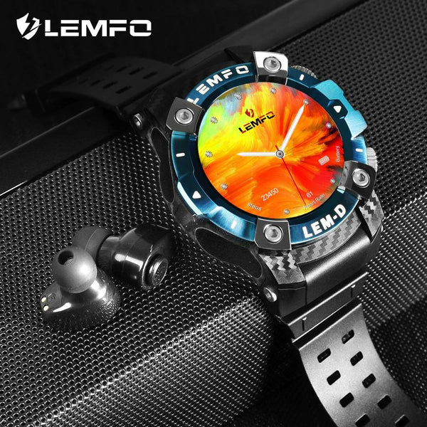 New LEMFO LEMD Sport Smart Watch TWS Bluetooth Earphone 2In1 360*360 HD Display Smartwatch - A1smartshop