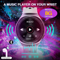 8G Real Music player smart Watch bluetooth call connect earphone storage 1500 songs smartwatch for men women Android IOS - A1smartshop