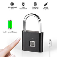 Thumbprint Door Padlocks Rechargeable Door Lock Fingerprint Smart Padlock Quick Unlock Keyless USB - A1smartshop