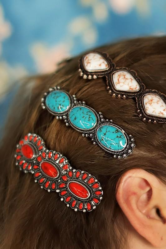 Turquoise Blossom Hair Pins