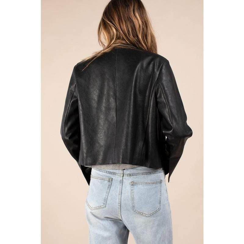 Vegan Leather Patch Pocket Jacket