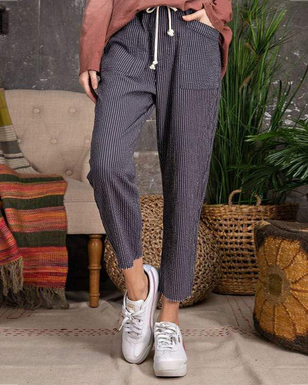Pinstriped Washed Drawstring Pant