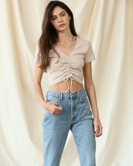 Ribbed and Rouched Crop Tee
