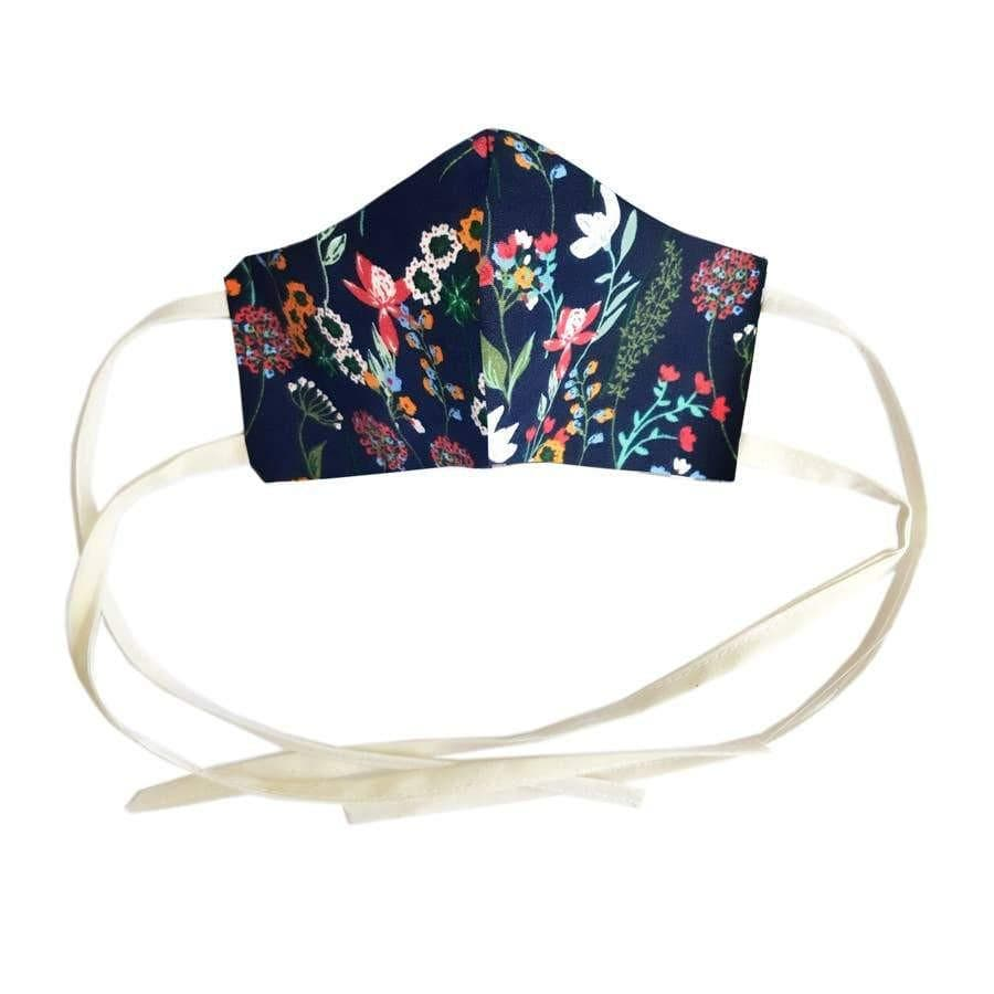 Children's Wildflower Face Mask Artaya Navy Floral small