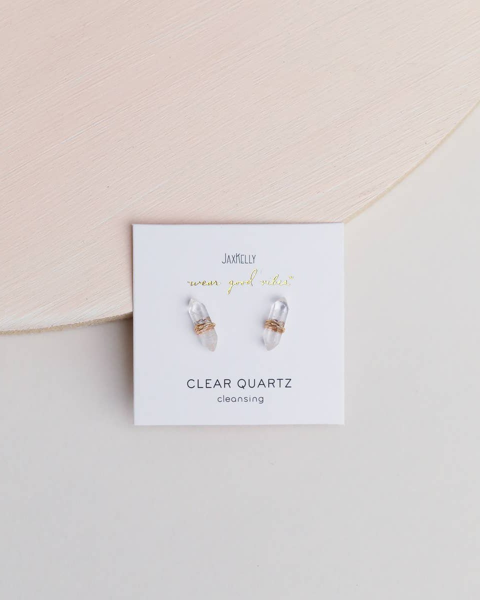 Gemstone Wrapped Points Studs