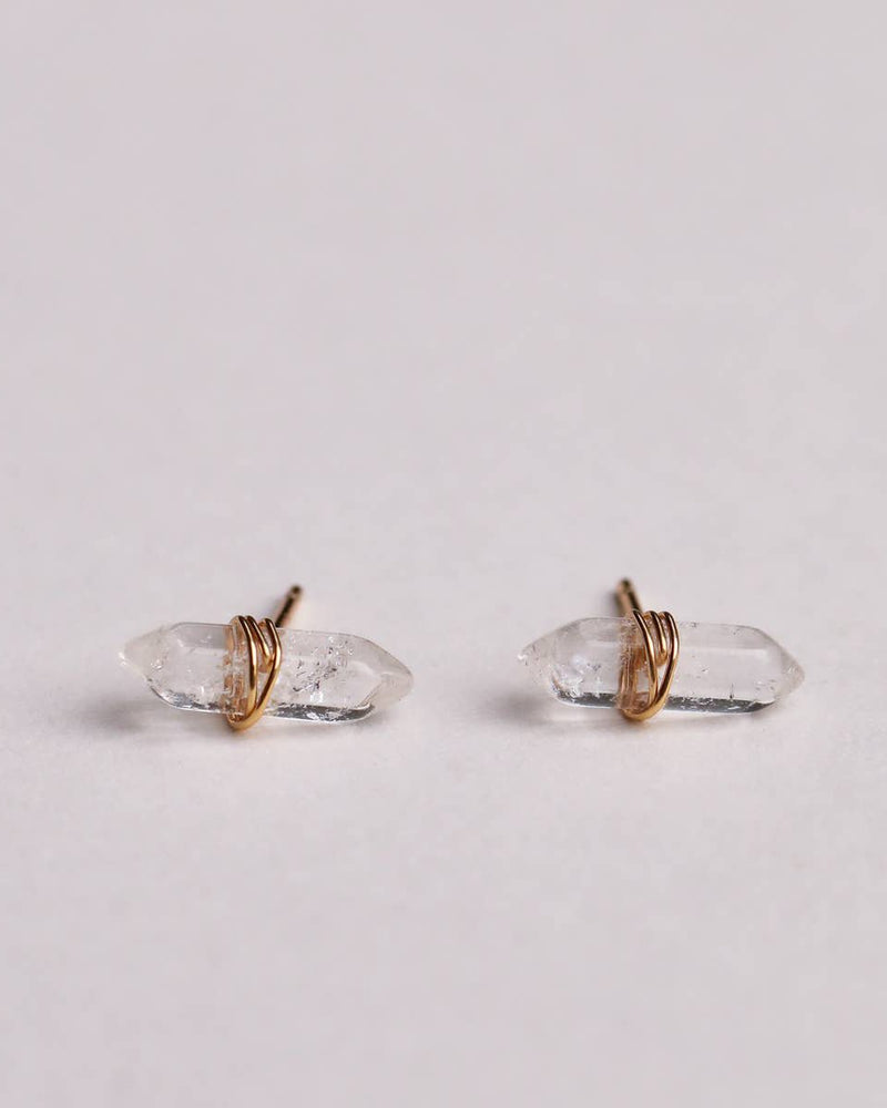 Gemstone Wrapped Points Studs JaxKelly Clear Quartz