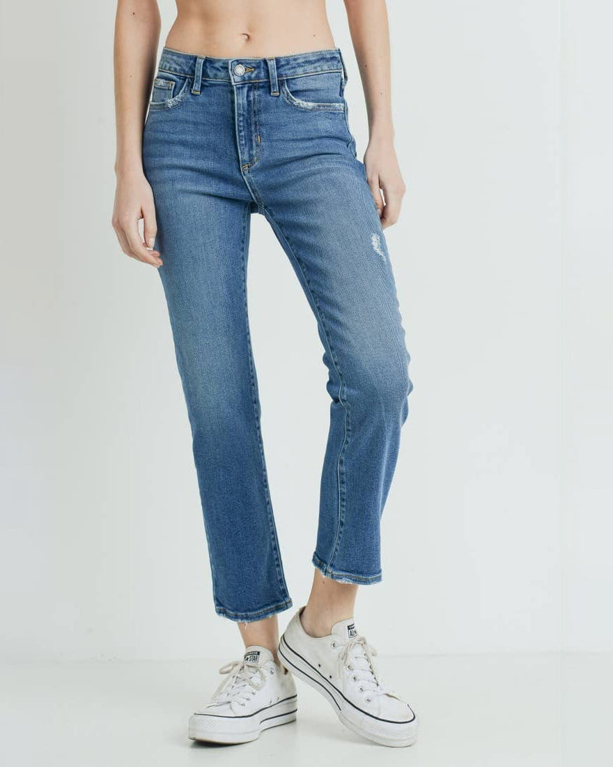 Slim Straight Mid-Rise Denim Just Black Denim