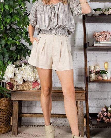 Pleated Khaki Safari Shorts