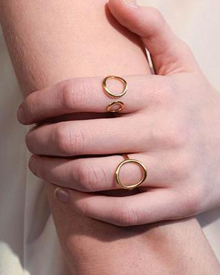 Double Circle Geo Ring