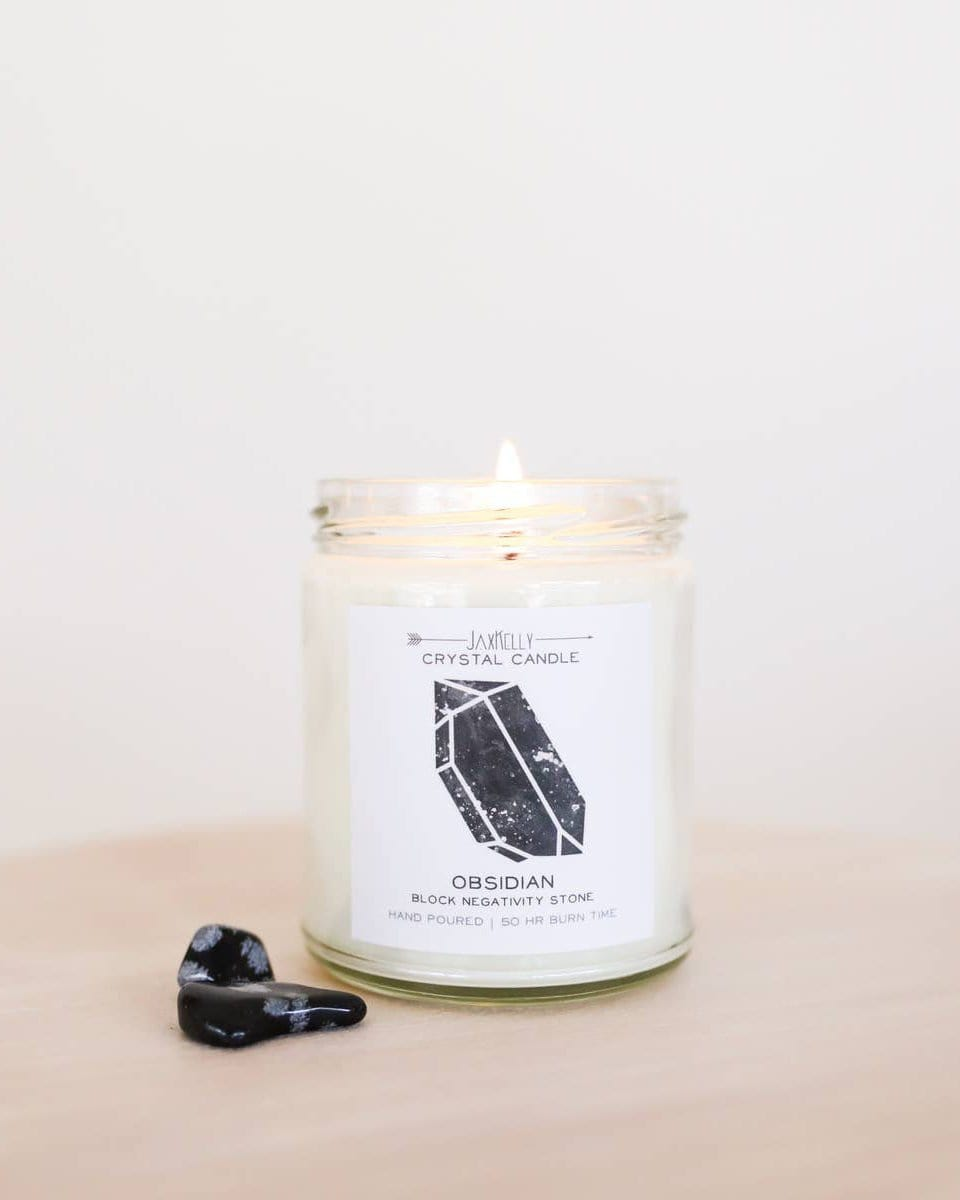 Crystal Charged Intention Candle JaxKelly Obsidian - Blocks Negativity