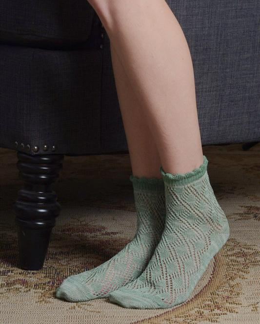Pistachio Ruffled Knit Ankle Socks